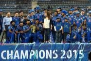 Neeta Ambani with team celebrate their IPL 2015 win at Wankhede stadium