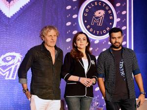 Nita Ambani along with Italian fashion entrepreneur Renzo Rosso and Mumbai Indians captain Rohit Sharma