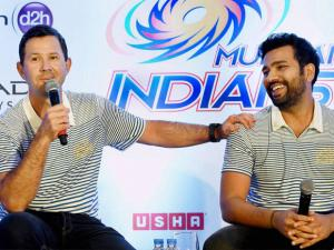 Mumbai Indians' coach Ricky Ponting and captain Rohit Sharma addressing a press conference in Mumbai.