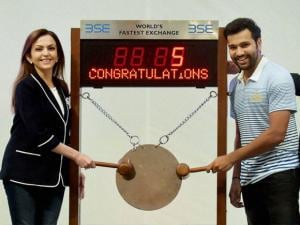 Mumbai Indians owner Nita Ambani, head coach Ricky Ponting and captain Rohit Sharma at the Mumbai Stock Exchange (MSE) building during the Opening Bell Ring ceremonious in Mumbai.