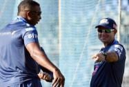 Ricky Ponting alongwith player Kieron Pollard during a practice session in Mumbai