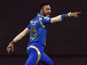 Mumbai Indians player Krunal Pandya celebrate the wicket of AB de Villiers during the IPL match against Royal Challengers Bangalore