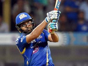Mumbai Indians player Rohit Sharma in action during the IPL match against Royal Challengers Bangalore in Mumbai