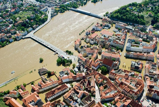 In this aerial view  Elbe river has  flooded the historical old town of Meissen, eastern Germany