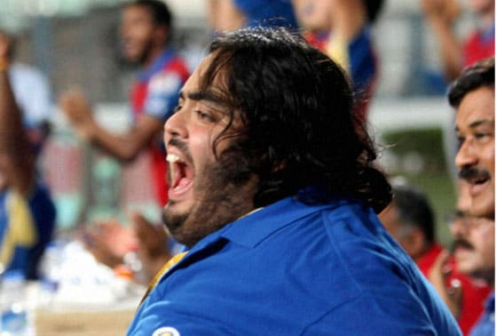 Mumbai Indians Owner Neeta Ambani son Hari Anant react after after win over Rajasthan Royals  at Eden Garden in Kolkata