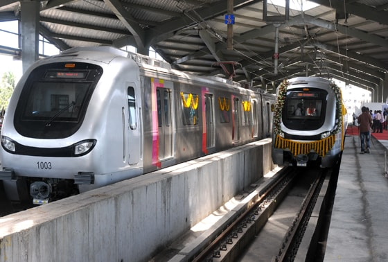 Mumbai's brand new metro at the Versova station before the flagging off ceremony