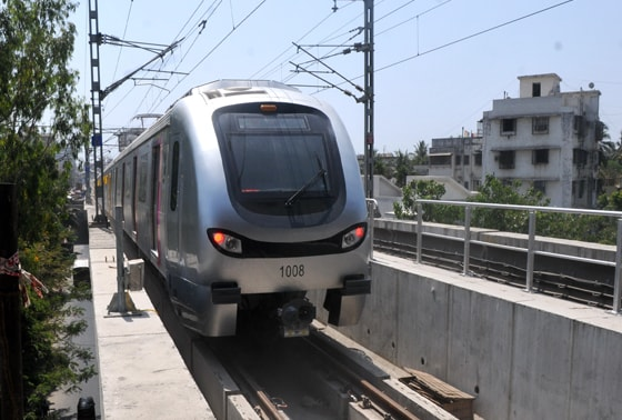 Mumbai's brand new metro on its first trial run from Versova to Ghatkopar in Mumbai