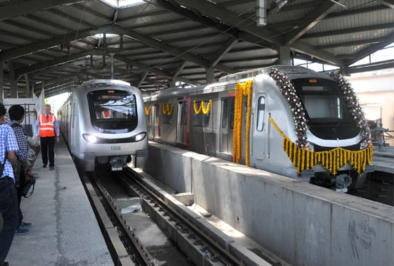 Officials rechecking all preparation before the Metro trial run at the Versova Station in Mumbai