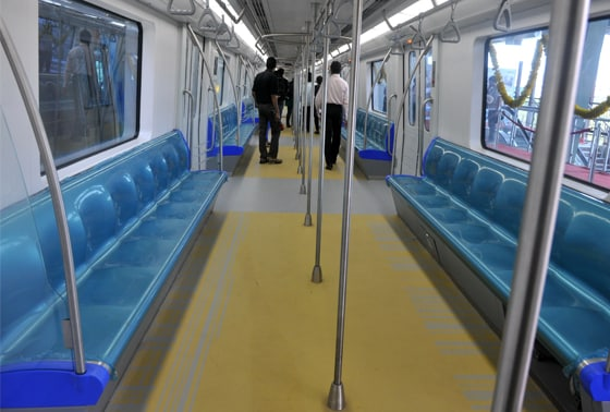 The interiors of the newly flagged off  Versova-Ghatkopar Metro in Mumbai