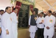 Maharashtra Chief Minister Prithviraj Chavan with Union Minister Venkaiah Naidu and Deputy CM Ajit Pawar