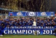 Mumbai Indians players celebrate with trophy after winning IPL8 final against Chennai Super Kings at Eden Garden