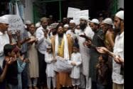 Muslim community people perform congregational prayer to protest against the attacks in Gaza by Israel