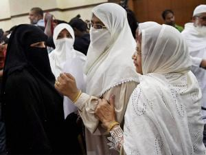 Muslim women during All India Muslim Personal Law Board's press conference in New Delhi