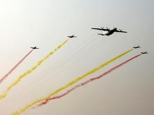 Myanmar fighter jets perform over the sky during a parade to commemorate the Myanmar's 72nd Armed Forces Day in Naypyitaw, Myanmar