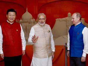 BRICS leaders Narendra Modi with Russian President Vladimir Putin, Chinese President Xi Jinping