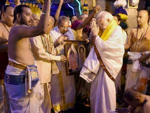 Narendra Modi offers prayers at the Sri Venkateswara Swamy Temple