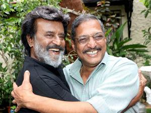 Rajinikanth and Nana Patekar embrace during a shoot for their upcoming Tamil film