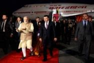 Prime Minister Narendra Modi being welcome by Prime Minister of the Republic of Tajikistan Rasulzoda Qohir
