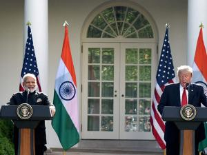 Prime Minister Narendra Modi meeting the President USA Donald Trump