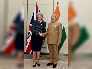 Narendra Modi with  Theresa May  during a bilateral meeting