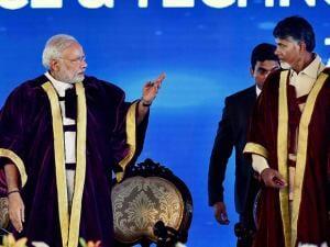 Prime Minister Narendra Modi with Andhra Pradesh Chief Minister Chandra Babu Naidu