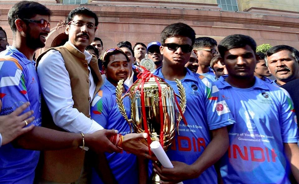 Narendra Modi, Prime minister of India, Blind Cricket world cup 2014, south africa, Thaawar Chand Gelhot,Union Minister for Social Justice & Empowerment of India, Sports Minister of India, Sarbananda Sonowal