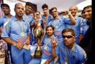Members of Indian Blind Cricket team druing a felicitation function on winning the Blind Cricket World Cup