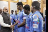 Prime Minister Narendra Modi meeting the members of the Blind World Cup winning Indian cricket team