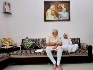 Narendra Modi interacts with his mother on his birthday