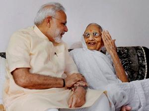 PM Narendra Modi interacts with his mother on his birthday