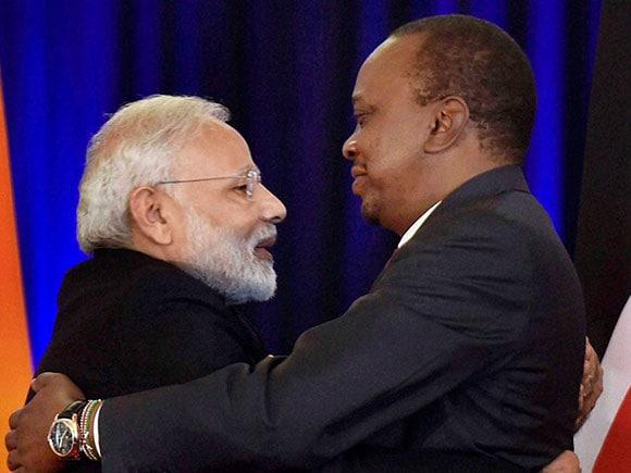 Kenyan President, Uhuru Kenyatta, Narendra Modi, PM Modi's Africa tour, Africa Tour, Kenya