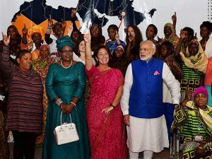 Narendra Modi during a visit to Barefoot College and Solar Mamas of Africa