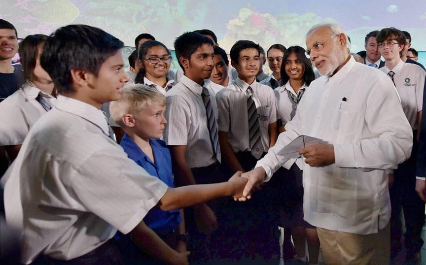 Prime Minister Narendra Modi, meeting with students, Queensland University of Technology, Brisbane, australia