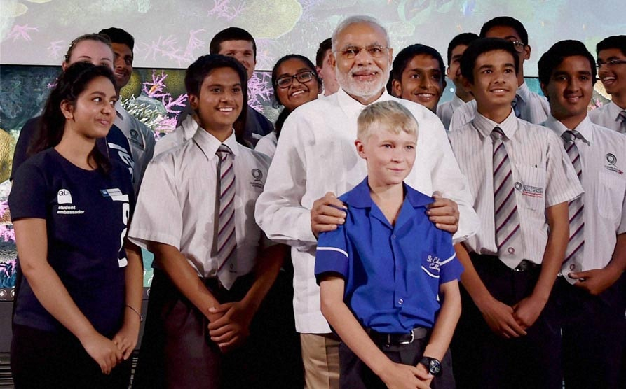 Prime Minister Narendra Modi, photograph with students, Queensland University of Technology, Brisbane, australia