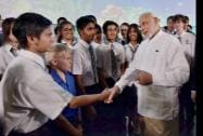 Prime Minister Narendra Modi meeting with students