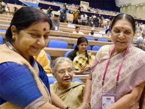 EAM Sushma Swaraj, Gujrat Chief Minister Anandiben Patel and former chief minister of Delhi, Sheila Dikshit (C) during the inaugural session of the National Conference of Women Legislators