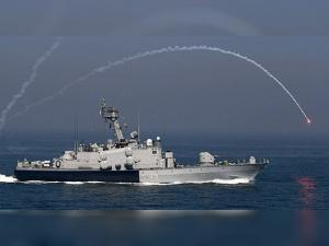 A naval boat during 'Day at Sea' exercise conducted as part of the Navy Day celebrations