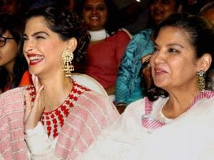 Bollywood actors Sonam Kapoor and Shabana Azmi during an event to celebrate film Neerja's success in Mumbai