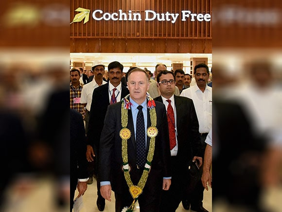 John Key, Bronagh, Cochin International Airport, New Zealand