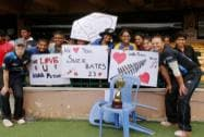 New Zealand women cricket captrain Suzie Bates poses with T20 trophy and fans