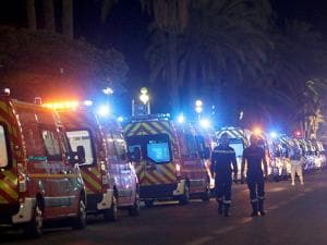 Ambulances line up near the scene of an attack in Nice city