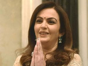 Nita Ambani greets after she was presented  'Pravinchandra V Gandhi award'