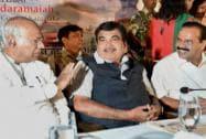 Nitin Gadkari arrives in Bengaluru