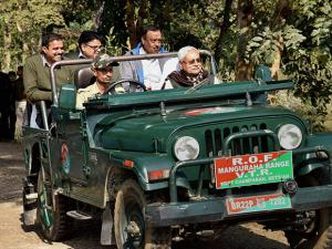 Bihar Chief Minister Nitish Kumar riding a open jeep during visit Manguraha forest in West Champaran