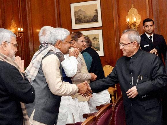 President  of India,  Pranab Mukherjee,  Nitish Kumar,  Bihar CM,  Jitan Ram Manjhi, Mulayam Singh Yadav, Sharad Yadav,  Lalu Prasad, KC Tyagi, Narendra Singh, Vinay Bihari