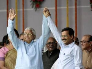 RJD Chief Lalu Prasad with Delhi Chief Minster Arvind Kejriwal