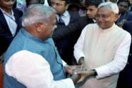 New Bihar Chief Minister Nitish Kumar, former CM Jitan Ram Manjhi