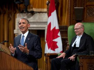 U.S. President Barack Obama addresses Parliament in the House of Commons on Parliament Hill