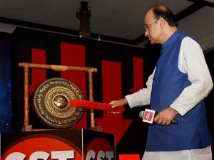 Finance Minister Arun Jaitley hitting the 'GST Bell' at India Today's Conclave on GST
