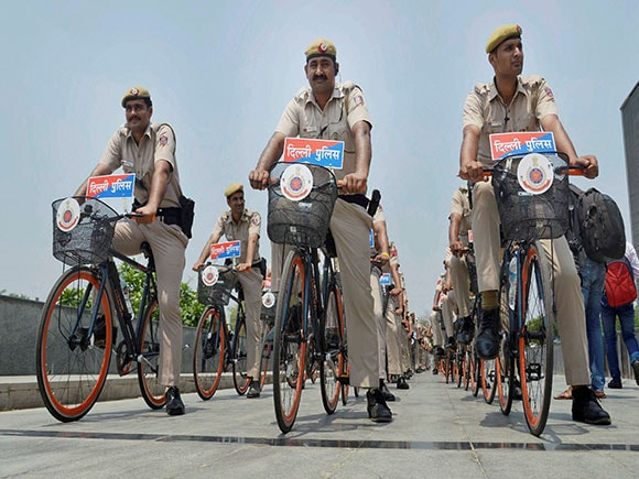 Delhi Police, bicycle, Patrol, Hansraj Ahir, Home Affairs, Delhi